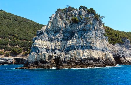 Beautiful rocky sea coast of Palmaria island near Portovenere (Gulf of Poets, Cinque Terre National Park, La Spezia, Liguria, Italy)