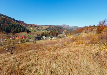 Autumn Carpathian village landscape (Ivano-Frankivsk oblast, Ukraine). Rural scene.