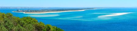 Summer sea coastal landscape of Nature Park Arrabida in Setubal, Portugal. Three shots stitch high-resolution panorama.