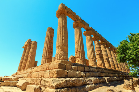 Temple of Juno in famous ancient Greece Valley of Temples, Agrigento, Sicily, Italy. Stock Photo