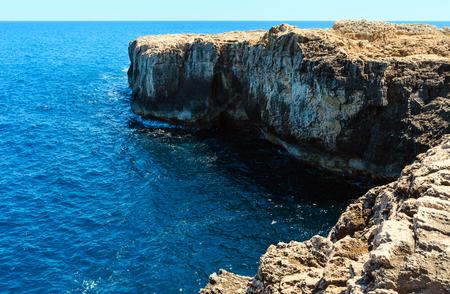 Summer rocky Capo Murro di Porco view - Syracuse, Sicily, Italy, Mediterranean sea.