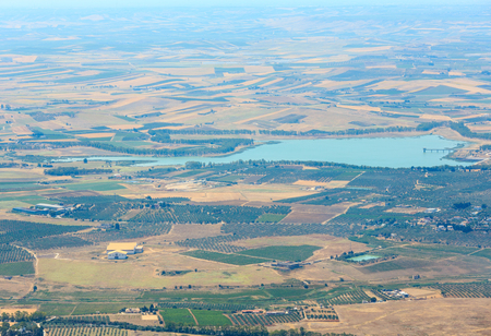 Big lake (flooded dike dam, nature reserve Saline di Trapani and Paceco) near Paceco village aerial view (from Erice town mountain), Trapani region, Sicily, Italy