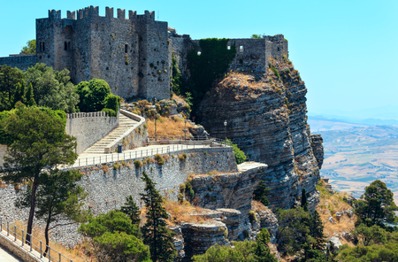 View of the old medieval Norman castle (Venus castle) in Erice, Trapani region, Sicily, Italy. Build in 12th century. Editorial