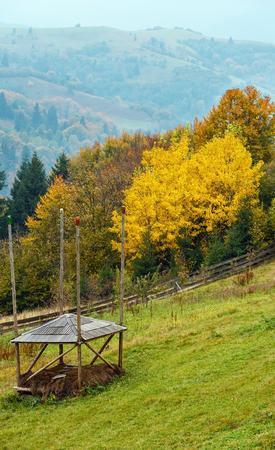 Autumn Carpathian Mountains landscape (Mizhhiria, Zakarpattia Oblast, Ukraine). Stock Photo