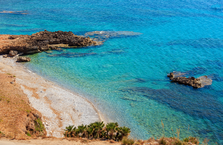Azure Tyrrhenian sea picturesque bay and Bue Marino Beach view, Macari, San Vito Lo Capo region, Sicily, Italy