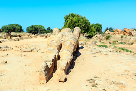 Giant Telamon, Atlas supporting statue of ruined Temple of Zeus in the Valley of Temples (Agrigento, Sicily, Italy)