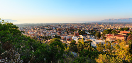 Evening view to Tyrrenian sea bay and Alcamo town from view point above (Trapani region, Sicily, Italy).