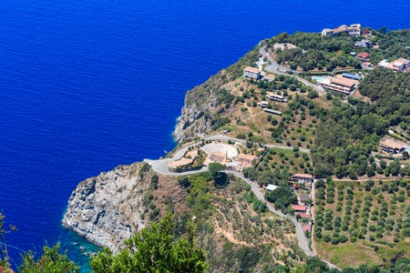 Summer picturesque Tyrrhenian sea Calabrian rocky coast view from Monte Sant'Elia (Saint Elia mount, Calabria, Italy) top.