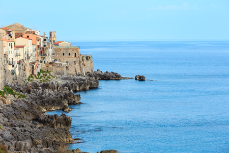 Cefalu old beautiful town coastal view, Palermo region, Sicily, Italy. Stock Photo