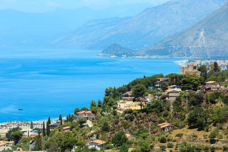 Beautiful Calabrian Tyrrhenian sea coastline landscape.  Praia A Mare, Calabria, Italy Imagens