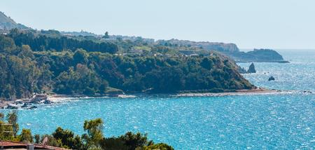 Beautiful Calabrian Tyrrhenian sea coastline landscape.  Not far from Capo Vaticano Ricardi, Tropea, Calabria, Italy