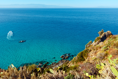 Beautiful Calabrian Tyrrhenian sea coastline landscape. Not far from Capo Vaticano Ricardi, Tropea, Calabria, Italy.