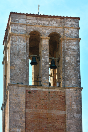 Medieval bell tower in Montepulciano, Province of Siena, Tuscany, Italy.
