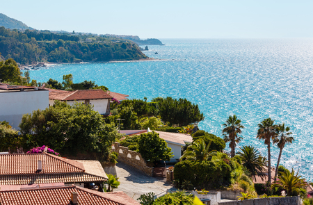 Beautiful Calabrian Tyrrhenian sea coastline landscape. Not far from Capo Vaticano Ricardi, Tropea, Calabria, Italy.