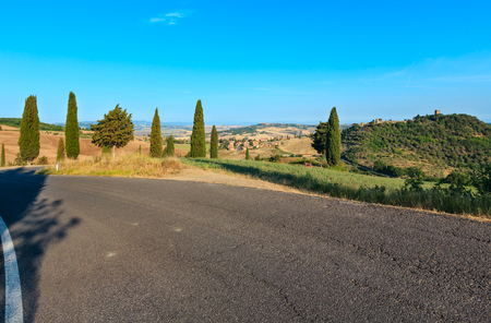 Summer countryside view from Montepulciano italian medieval village, Val dOrcia valley  Siena province, Tuscany, Italy.