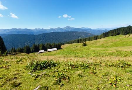 Summer Chornohora mountain ridge view from Vesnjarka plateau (Carpathian, Ukraine). Stock Photo