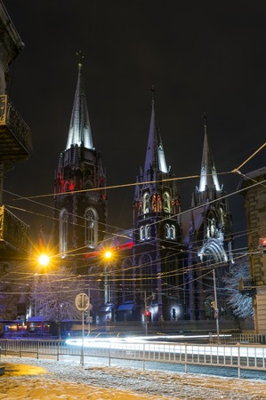 Beautiful illuminated night winter Church of Sts. Olha and Elizabeth in Lviv, Ukraine. Built in the years 1903-1911.