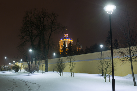 St. George Cathedral (build in 1746-1762, designed by architect Bernard Meretyn and sculptor Johann Georg Pinsel) in Lviv, Ukraine. Beautiful night winter cityscape in the center of Lviv city.