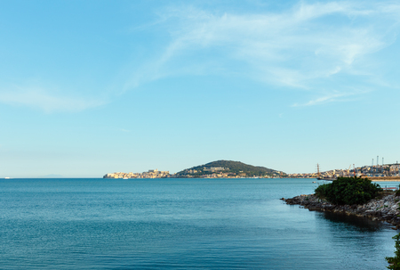 Gaeta town evening sea bay view, province of Latina, in Lazio, central Italy Stock Photo