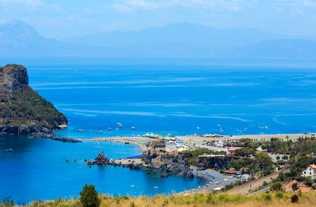 Beautiful Calabrian Tyrrhenian sea coastline landscape, small rocky island Isola di Dino and Torre di Fiuzzi, Praia A Mare, Calabria, Italy