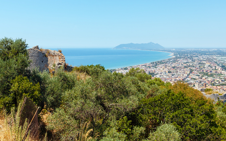 Summer Tyrrhenian sea coast top view from Temple of Jupiter Anxur (Tempio di Giove Anxur), Terracina, Latina, Lazio, Italy