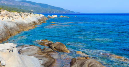 Summer morning Sithonia rocky coast landscape (Chalcidice, Greece). Two shots stitch panorama.