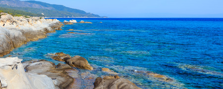 Summer morning Sithonia rocky coast landscape (Chalcidice, Greece). Two shots stitch high-resolution panorama.