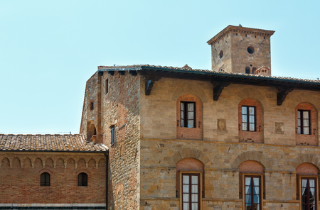 Summer ancient walled mountaintop town Volterra street scene, Pisa province, Tuscany, Italy. Stock Photo