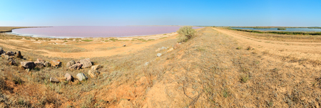Pink extremely salty Syvash Lake, colored by microalgae (Putrid Rotten Sea). And blue fresh lake by the dam. Ukraine, Kherson Region, near Crimea and Arabat Spit. High-resolution three shots panorama.
