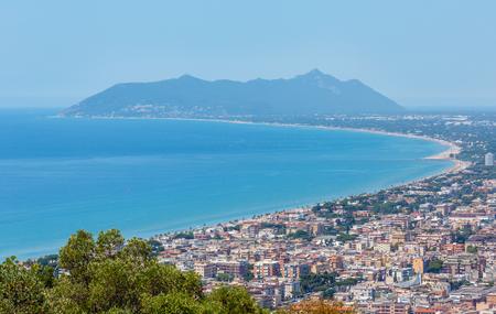 Tyrrhenian sea coast view from Temple of Jupiter Anxur (Tempio di Giove Anxur), Terracina, Latina, Lazio, Italy
