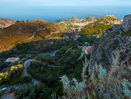 Beautiful Taormina sea coast panoramic view from up (Castelmola), Sicily, Italy. 写真素材