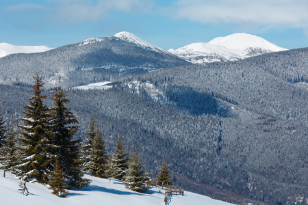 Picturesque winter mountain view from Skupova mountain slope, Ukraine, view to Chornohora ridge and Pip Ivan mountain top with observatory building, Carpathian.