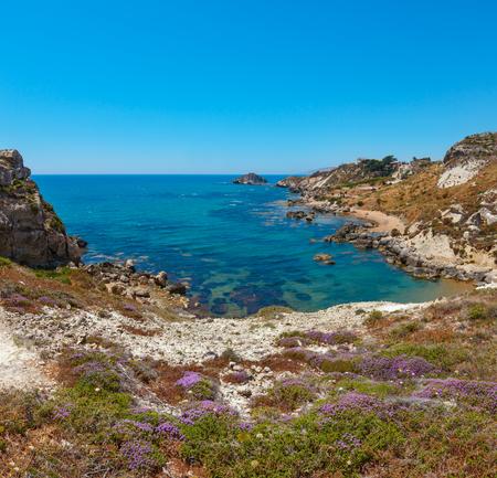 Paradise sea beach Cala Paradiso near Rocca di San Nicola, Agrigento, Sicily, Italy. Two shots stitch image.