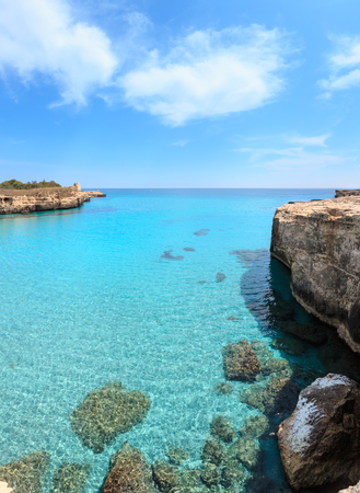 Picturesque Adriatic sea coast Archaeological Area of ​​Roca Vecchia, Salento, Puglia, Italy.