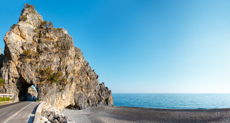 Beautiful Tyrrhenian sea coastline and beach evening landscape. Cilento and Vallo di Diano National Park, Salerno, Italy. Stock Photo