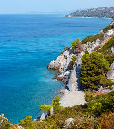 Summer sea coast morning landscape (Kassandra peninsula, Halkidiki, Greece). Stock Photo