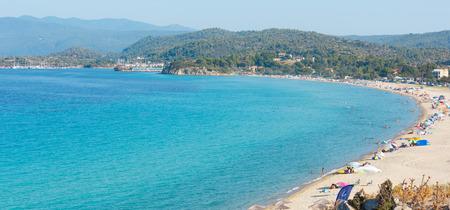 Summer sea top view with Trani Ammouda beach (Ormos Panagias, Halkidiki, Greece).