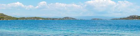 Summer sea coast landscape (Livari beach, Halkidiki, Sithonia, Greece). Four shots stitch high-resolution panorama.