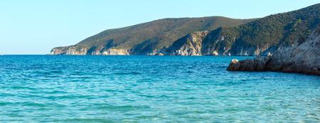 Summer sea coast landscape (Halkidiki, Sithonia, Greece). Two shots stitch high-resolution panorama.
