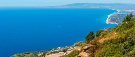 Summer picturesque Tyrrhenian sea Calabrian coast view from Monte Sant'Elia (Saint Elia mount, Calabria, Italy) top.