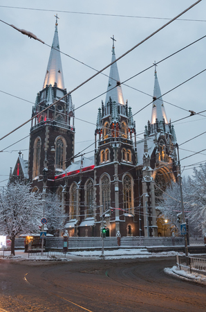 Beautiful illuminated early morning winter Church of Sts. Olha and Elizabeth in Lviv, Ukraine. Built in the years 1903-1911. Stock fotó