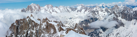 Mont Blanc rocky mountain massif summer view from Aiguille du Midi Mount, Chamonix, French Alps