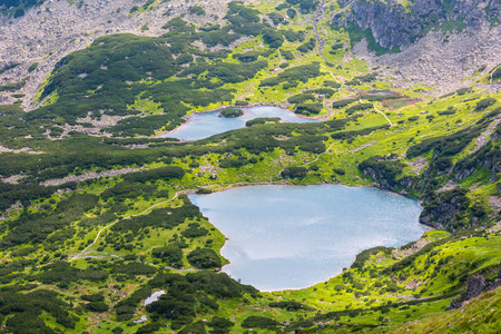 Tatra Mountain, Poland, view to group of glacial lakes from Kasprowy Wierch range.
