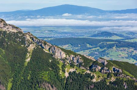 Tatra Mountain, Poland, view to Valley Gasienicowa and Zakopane 免版税图像