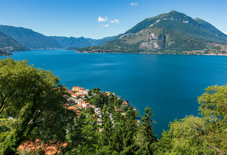 Alpine Lake Como summer view from mountain top (Italy).