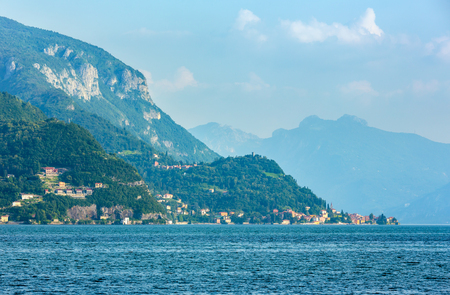 Alpine Lake Como summer evening view (Italy) Stock Photo