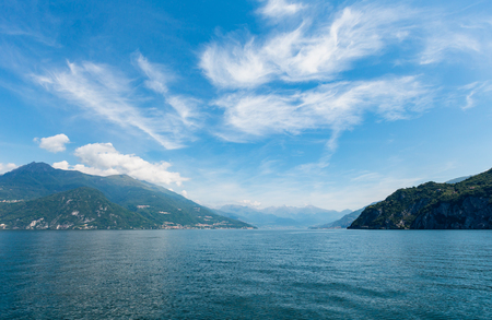 Lake Como (Italy) summer coast hazy view from ship board. 版權商用圖片