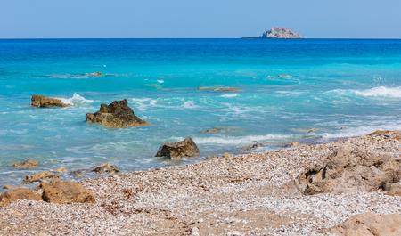 Beautiful summer Lefkada coast stony beach, Greece, Ionian Sea Imagens