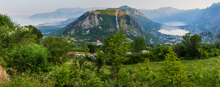 Bay of Kotor summer morning panorama from up and Kotor town, Montenegro 写真素材