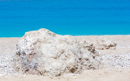 Beautiful summer white Egremni beach on Ionian Sea (Lefkada, Greece).